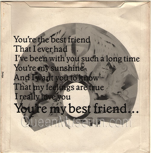 You're My Best Friend UK In house promo sleeve - Back-